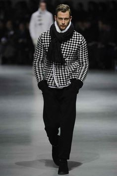B Checked Sweater Coat, Scarf, Gloves, and Wool Trousers, Great Men's Fall/Winter Fashion.
