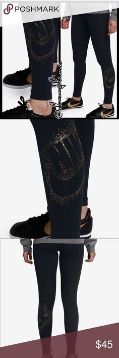 Gold metallic Nike leggings Brand new with tags  Authentic Please know your sizing in Nike items before purchasing Port wine color- deep burgundy  God metallic Nike logo at left calf Elastic waist band  Skinny leggings  Cotton/polyester/spandex Dri-fit wicking technology helps evaporate moisture  Available In wine on a separate listing Matching sweater available on separate listing Nike Pants Leggings