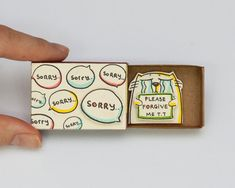 """Truly unique & fun handmade products by - Cat Sorry Card Matchbox / Gretting Card / Gift Box / Message Box Crying Face Cat """"Please Forgive - Matchbox Crafts, Matchbox Art, Cute Cards, Diy Cards, Origami, Tarjetas Diy, Sorry Cards, Cute Messages, Fathers Day Crafts"""