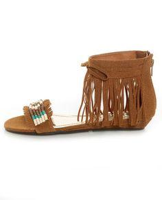 Bamboo Topnotch 02 Chestnut Beaded Fringe Flat Sandals - Shoess <3 Lulu*s      #lovelulus