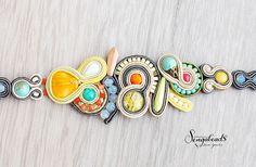 Colorful soutache bracelet. Soutache jewelry. by Sengabeads