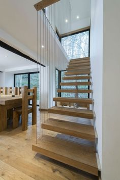 Architecture, Traditional Home Interior Design Ideas Renovated Water Mill in North Wales : Chic Wooden Staircase Combined With Metal Wires . Staircase Interior Design, Home Interior Design, Interior Architecture, Floating Staircase, Wooden Staircases, Modern Stairs, House Stairs, Oak Stairs, Building A House