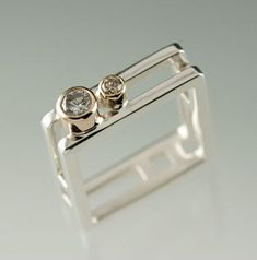 This 2 Moissanite Sterling Silver and Yellow Gold Double Square Ring is hand made from scratch with every order. Square Wedding Rings, Square Rings, Gold Diamond Wedding Band, Diamond Rings, Vintage Engagement Rings, Diamond Engagement Rings, Gold Jewelry, Fine Jewelry, Jewellery