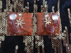 resin earrings-FREE SHIPPING-resin jewelllry-handmade