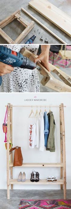 Hoe to make a wardrobe out of an old ladder.