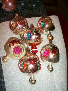 Lot #2 Old 1950's Glass and painted Christmas Ornaments - (6) Ornate No Reserve