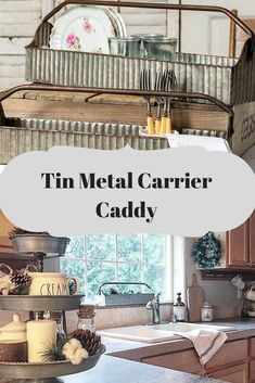 Perfect for kitchen decor and organization. Farmhouse Style Bedrooms, Farmhouse Style Decorating, Country Decor, Rustic Decor, Kitchen Tools And Gadgets, Galvanized Metal, Metal Tins, Country Kitchen, Rustic Farmhouse