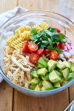 Healthy Chicken Pasta Salad - chicken salad recipe - Packed with flavor, protein and veggies! This healthy chicken pasta salad is loaded with tomatoes, avocado, and fresh basil. - recipe by 332281278757699951 Chicken Pasta Salad Recipes, Healthy Chicken Pasta, Salad Chicken, Basil Chicken, Basil Pasta, Shrimp Salad, Shrimp Pasta, Shrimp Recipes, Rice Recipes
