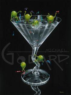 Olives Gone Wild - Michael Godard Todd White Art, Godard Art, Large Prints, Framed Prints, Dining Room Art, Apple Art, Wow Art, Cocktail Glass, Canvas Frame