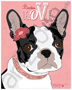 Boston Terrier Valentine 8 x 10 Photo Print with by ArtzyDogStudio, $22.00