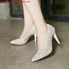 Diseñador Barato Zapatos de mujer Tacón Stiletto Tacones Puntiagudos Tacones Boda Vestido Purpurina Blanco Oro lXQnt41S