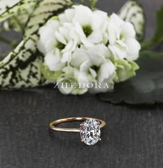 Dainty Oval Engagement Ring 2.0 CT Rose Gold Dainty Oval Ring