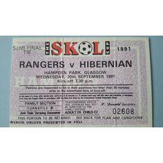Rangers v Hibernian Football Ticket Stub 25/09/1991 Semi Final Skol Cup Listing in the Scottish Club Leagues & Cups,Ticket Stubs,Football (Soccer),Memorabilia & Fan Store,Sport Memorabilia & Cards Category on eBid United Kingdom