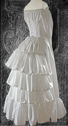 Victorian bustle petticoat circa 1880  I'm thinking this is a replica of the bustled petticoat, chemise, and corset.