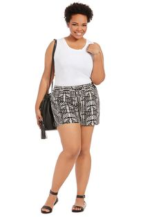 Flory Shorts In Black Abstract by @junaroseglobal   Available in sizes 12-24