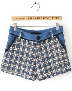 Blue Pockets Plaid Tweed Shorts EUR€22.22