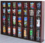 28 Shot Glass Shooter Display Case Holder Cabinet Rack, solid wood, NO Door, Mahogany Finish (SC11-MAH)