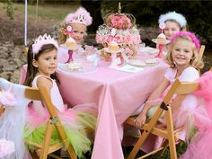 Check out the crown cake and how they made cupcake holders by painting dollar tree candle holders and attaching cute tea plates...amazing detail for a tea, ballerina, princess, dress up party