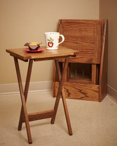 Use this woodworking plan to create folding side end tables to make an instant table top for guests or when you need an extra coffee table. Custom Woodworking, Woodworking Furniture, Woodworking Projects Plans, Teds Woodworking, Furniture Projects, Furniture Plans, Wooden Tv Trays, End Tables, Coffee Tables