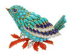Van Cleef & Arpels bird clip in platinum and yellow gold, set with…