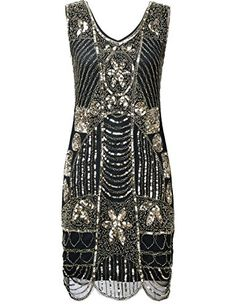 a01b6c07027c PrettyGuide Women's 1920s Flapper Dress Gatsby Sequin Scalloped Inspired  Cocktail Dress
