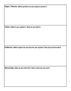 This is a Common Core graphic organizer for Claim, Evidence ...