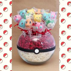 Pokemon cake pop bouquet for a birthday party! Jigglypuff, Pikachu, Bulbasaur, Charmander, and Snorlax. Pokemon Themed Party, Pokemon Birthday Cake, Cake Pop Bouquet, 6th Birthday Parties, Birthday Fun, Birthday Poems, Pikachu, Pokemon Cake Pops, Pokemon Cakes