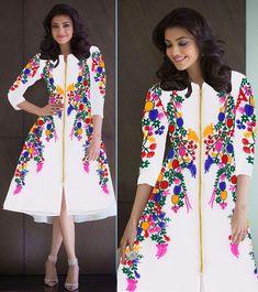 New Designer Kajal Chain Stitch Embroidery Frock Style White Kurti Kurtas and Kurtis For Women Frock Fashion, Fashion Dresses, Women's Fashion, 1950s Fashion, Unique Fashion, Latest Fashion, Pakistani Dresses, Indian Dresses, Velvet Dress Designs