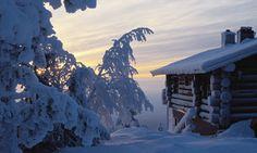 Snow covered cabin morning light
