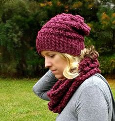 The Lenape Slouch Beanie - A free pattern by Croyden Crochet with link to matching cowl