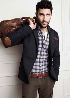 Shop this look for $328:  http://lookastic.com/men/looks/belt-and-cargo-pants-and-blazer-and-pocket-square-and-longsleeve-shirt-and-briefcase/509  — Burgundy Canvas Belt  — Charcoal Cargo Pants  — Charcoal Blazer  — Red Pocket Square  — Blue Plaid Longsleeve Shirt  — Brown Leather Briefcase