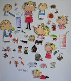 Up-cycle torn picture books into story magnets -- Love this! Can also do with stickers, photos, etc.
