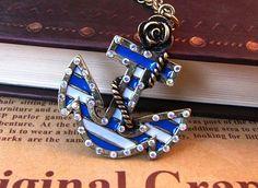Summer fun. cutest anchor ever. Boho Anchor Necklace. $7.99, via Etsy.