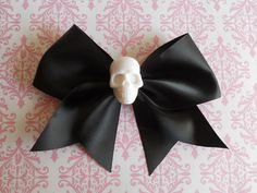 Pastel Goth black Hair bow white skull punk lolita