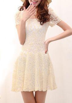 Apricot Lace Hollow-out Short Sleeve Cotton Dress