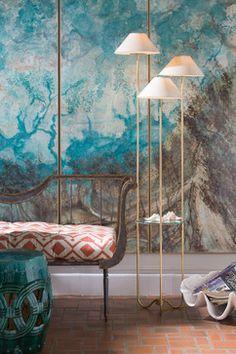 Niermann Weeks Toulon Settee and Capucine Floor Lamp. Design by Bradshaw Orrell. niermannweeks.com #NiermannWeeks