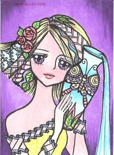 ACEO Original zentangle anime horoscope zodiac aquarius girl drawing by Jenny