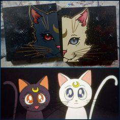 Because cats! #SailorMoon #Luna #Artemis #Cats #JustBecause #AcrylicPainting #GlennArthurArt
