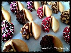 Beautiful chocolate dipped fortune cookies