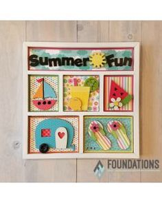 Grab your flip flops, bathing suit and picnic basket because summer is here! Get ready to decorate the Summer Fun Shadow Box Kit by Foundations Decor with your Wood Shadow Box, Shadow Box Frames, Collage Frames, Paper Frames, Collages, Scrapbook Box, Scrapbooking, Childrens Party, Easter Baskets