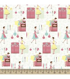 Novelty Cotton Fabric- Retro Kitchen Print : quilting fabric ...