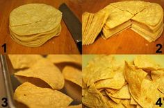 **Tortilla chips and Guacamole'  4 ripe avocados  Juice of 1 lemon or lime  1 tbsp. garlic powder  1 tbsp. onion powder  1/2 tsp. salt  Chips  1 package corn tortillas (I use Traders Joe's Corn Tortillas – the cleanest I've found so far)  1/2 salt  1 Tbsp. garlic powder  Lemon juice  1 tsp. olive oil  350 for 20 mins