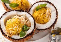Feito com biomassa, frozen de manga crocante de coco é rico em fibras