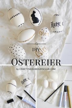 DIY Ostereier bemalen mit Markerstiften . Selbstgemachte Osterdekoration. Anleitung auf Craftyneighbourslub.com