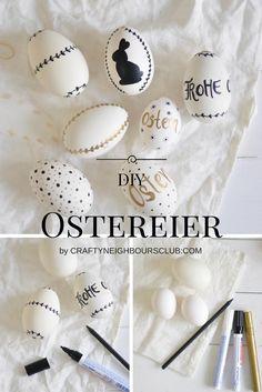 DIY Ostereier mit Markern bemalen. Selbstgemachte Osterdekoration. Anleitung auf Craftyneighbourslub.com