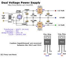 Fuente de voltaje simétrica de 12 Volts