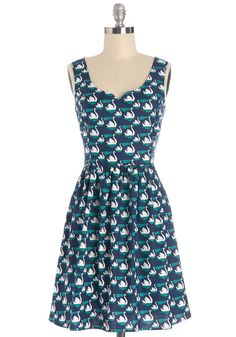 Never Had Swan Like You Dress. If there were ever a cotton dress worth serenading or writing sonnets for, this ModCloth exclusive would be it! #blue #modcloth