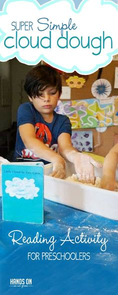 Try a simple and fun cloud dough reading activity with your child! Your preschoolers will build reading comprehension skills without even knowing it. Sensory Activities Toddlers, Outdoor Activities For Kids, Reading Activities, Hands On Activities, Infant Activities, Sensory Play, Playdough Activities, Sensory Bags, Outdoor Games