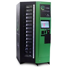 Medical Marijuana Vending machine.  There's only one so far, and its in Santa Ana, CA.  You have to swipe a card, enter a pin code, and scan your fingerprint.  It also has cameras.