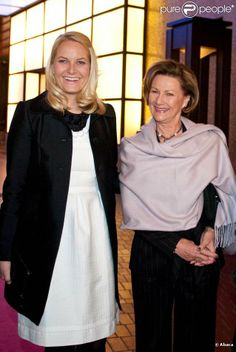 Crown Princess Mette-Marit of Norway with her mother in law Queen Sonja of Norway